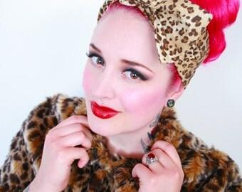 Leopard Print Hair Bow Bandana Head Scarf -Pinup Rockabilly Psychobilly