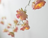 Rhubarb and Custard Longer Shabby Rose Fairy Lights Pretty Flower String Light Garland - PamelaAngus
