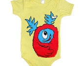 Baby Monster Onesie - Yellow with Red Monster size 18 month
