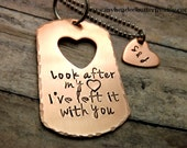 Personalized couples necklace-Twilight inspired-Couples set-Handstamped necklace-couples necklace-Iook after my heart, ive left it with you