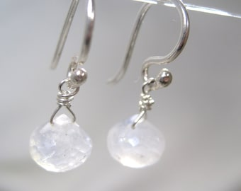 Delicate Milky White Moonstone Dangle Earrings - Sterling Silver Earwires - Salt of the Earth Collection