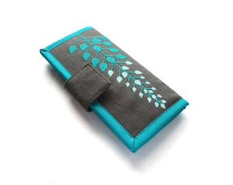 Large Wallet | Card wallet | Embroidered Tree wallet | Teal Wallet | Handmade Wallets for women | Modern wallet | Gifts for women | Unique