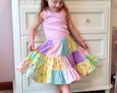 Girls Pastel Patchwork Twirl Skirt Size 4/5