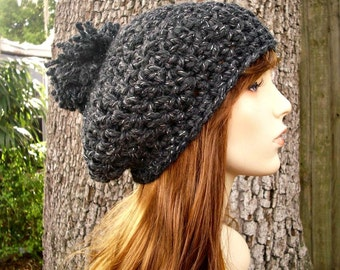Charcoal Grey Slouchy Hat Crochet Hat Womens Hat - Pom Pom Beret Constellation Metallic - Grey Hat Grey Beanie Womens Accessories Winter Hat