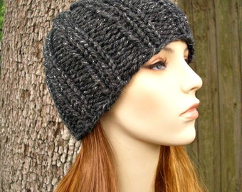 Constellation Charcoal Grey Knit Hat Thick Knit Mens Hat Womens Hat - Ribbed Boyfriend Beanie - Grey Hat Womens Accessories Winter Hat