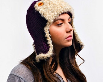 Purple Womens Hat - Purple Ear Flap Hat Trapper Hat Aviator Hat Eggplant Purple Knit Hat - Purple Hat Womens Accessories Chunky Winter Hat