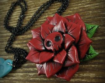 Red Skull Rose Necklace