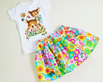 Baby Deer Skirt Set Floral Twirl Retro Custom Size 6/12m to 3T