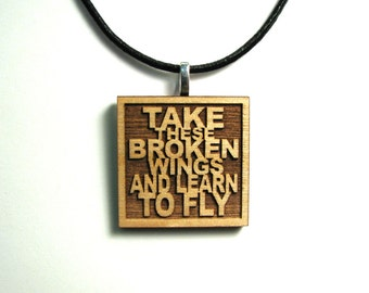 Half Price Sale!! THE BEATLES Lyric Necklace JukeBlox Pendant - Take These Broken Wings And Learn To Fly