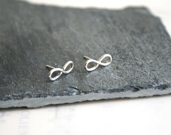 Small Sterling Silver Infinity Figure 8 Stud Earrings Gift under 30