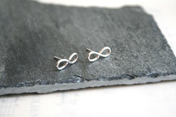 Small Sterling Silver Infinity Figure 8 Stud Earrings Gift under 30