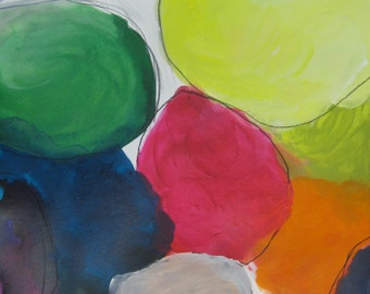 The Party ll  an original contemporary abstract mixed media painting on paper