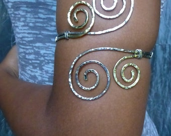Hammered Jewelry - Grecian Double Swirl Upper Arm Cuff - Hammered Arm Band - Armlet