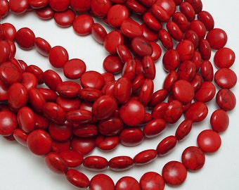 32 Red Howlite 12MM Coin Beads (H7056)