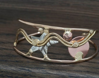 Abstract Metal Cuff Bracelet with star