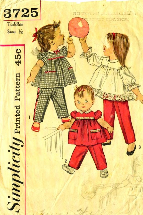 Simplicity 3725 TODDLER SIZE 1/2 Pants and Top circa 1960