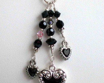 Necklace Black Swarovski Crystals w Black Hearts wSilver Filigree Accents