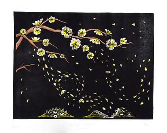 Blossom Eaters (yellow) - Cryptozoology linocut