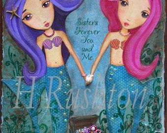 Mermaid Art - Kids Mermaid Decor- Sisters Art- Underwater Mermaid Sisters (pink/purple) - Art Print Sizes 11x14 or 16x20 Large Format Prints