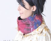 SALE Hot Pink Cowl Scarf   plaid, flowers and fringes - Fuchsia Cowl scarf - neckwarmer