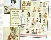 Jane Austen Quotes and Regency Era Fashion 1.5 inch square 38mm squares womens fashion costume costuming georgian england english