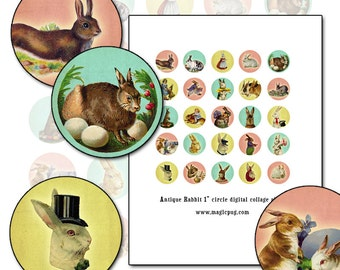Antique Bunny Rabbit Pastel 1 inch bottle cap circle digital collage sheet 25mm circle pink yellow mint green pale blue bunnies bunny