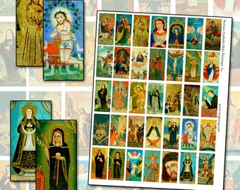 Antique Catholic Paintings IV digital collage sheet for domino jewelry work 1x2 inches 25mm x 50mm saints infant of prague