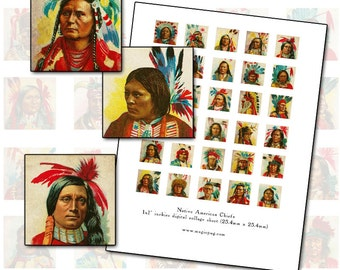 Native American Chiefs inchies digital collage sheet 1 inch square altered art  25.4mm 25mm