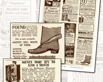 Antique Victorian Magazine Health Patent Quack Medicine digital collage sheet classified ads newspaper magazine health beauty
