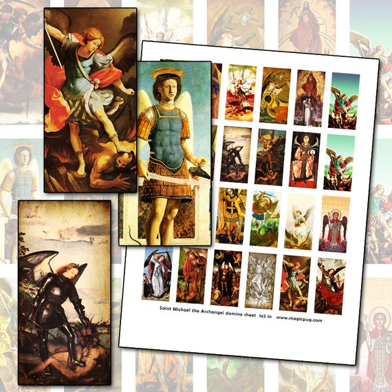 Saint Michael the Archangel domino digital collage 1x2 inch 25mm x 50mm holy cards