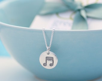 Musical Note Motif Silver Necklace