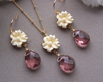 Bridesmaids Jewelry Set - Vintage Nature Inspired Necklace and Earring Set, Flower Jewelry, Amethyst Stone Jewelry, Outdoor Weddings, Bridal