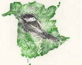 New Brunswick, Black-Capped Chickadee and Balsam Fir linocut - Handprinted Maps Provincial Symbols - Provinces & Territories of Canada