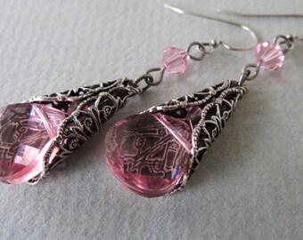 Light Rose Swarovski Crystal Earrings