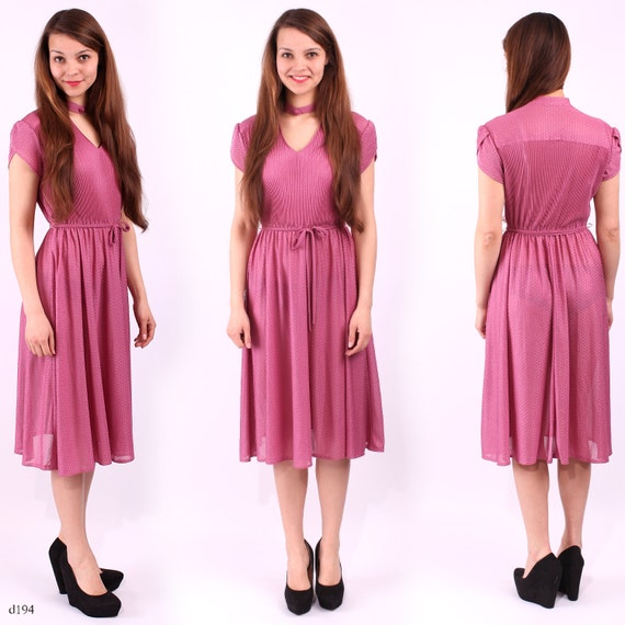 1970s Pink Midi Dress / Raspberry Red Dress  / sz Medium
