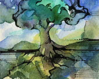Tree Watercolor Painting - Original miniature abstract Blue Green Landscape Contemporary Modern art by Kathy Morton Stanion  EBSQ