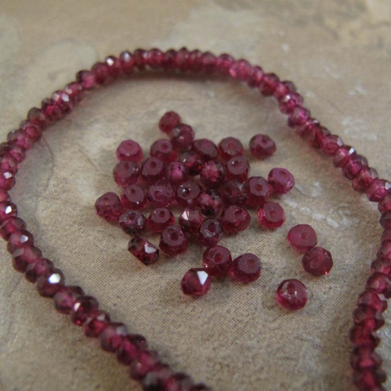 Rhodolite Garnet Beads, Small Gemstone Rondelles, Twenty (20) Count, 3-3.5mm, Jewelry Supplies, Tiny Stones (L-Rh4)
