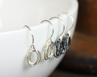 Hammered Dangle Earrings - Sterling Silver - Oxidized or Shiny