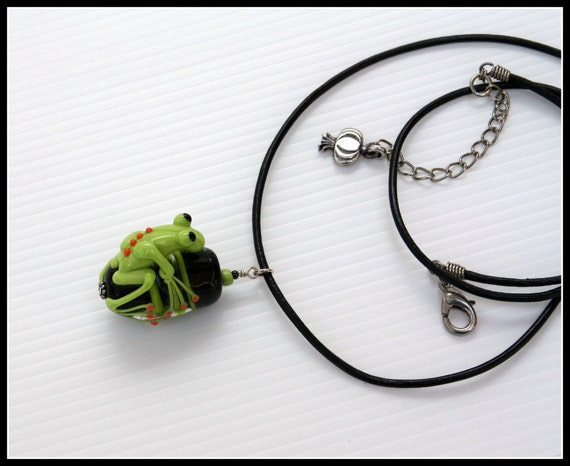 ON SALE Lucas the Green Glass Frog Pendant on Large Striped Bead with Black Leather and Garlic Charm