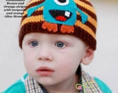 Knit MONSTER inspired hat, Made in USA, Boys accessories, boys hats, girls hat, toddler hats, baby sets, boys hospital outfit, baby shower
