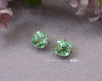 Chrysolite Swarovski Crystal 10mm Cushion Cut 4470 Square With Prong Setting Sew On Crystal Sew On Craft Supplies Jewelry Making