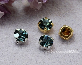 Indian Sapphire Vintage 40ss 1102 Swarovski Crystal With Prong Sew On Setting Crystal Sew On Craft Supplies Jewelry Making