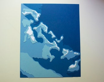 "The Bahamas - 8 x 10"" layered papercut art"