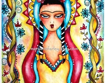 Whimsical Art Print, Frida Kahlo Mexican Madonna Virgin Mary Girl Illustration, Spiritual, Religious, Mixed Media, 8 x 10, Red Yellow