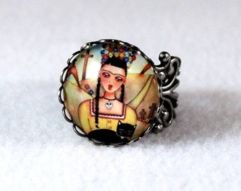 Day of the Dead Ring, Frida Kahlo Mexican Girl Art, Antique Silver Filigree Cocktail Ring Jewelry, Art Print Under Glass, Yellow