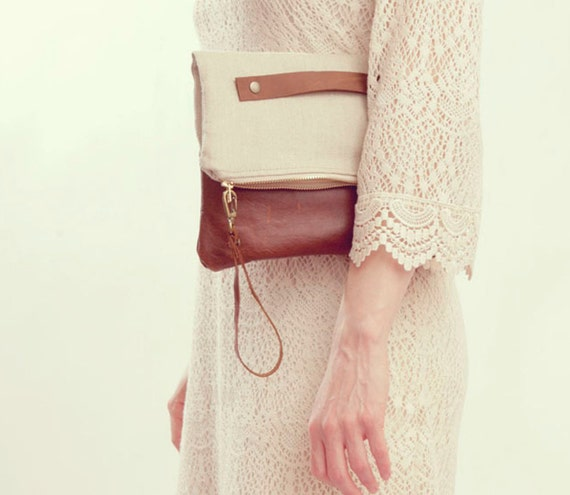 Taupe Clutch. Minimal Bag. Linen Clutch. Brown Leather Clutch. Oversized Clutch.