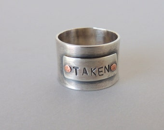 Wide Band Sterling Personalized Ring - Gift for him her