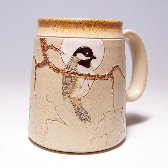 Black Capped Chickadee and Maple Leaf Large 16 oz Pottery Coffee  Mug Limited Series 101