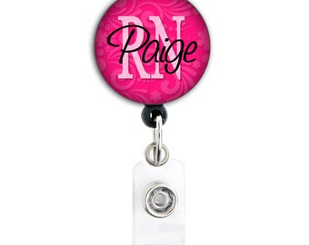 Retractable ID Badge Holder - Personalized Name and Title - Patterned Blue Pink Purple RN CNA, and other abbreviations