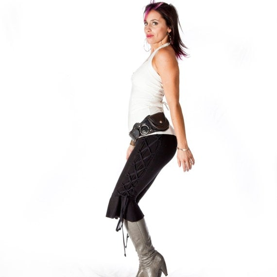 Ruffle bottom capris, bloomers, sexy stretch yoga pants - CORSET CROPS - side corset lacing, festival, bellydance